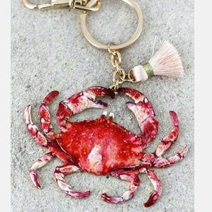 New Crab Coastal Keychain w Tassel!